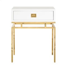 White Lacquer 1 Drawer Side Table With Brass Campaign Hardware and Base.