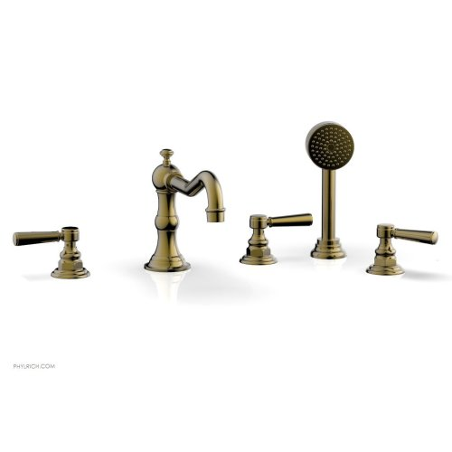 HENRI Deck Tub Set with Hand Shower with Lever Handles 161-49 - Antique Brass