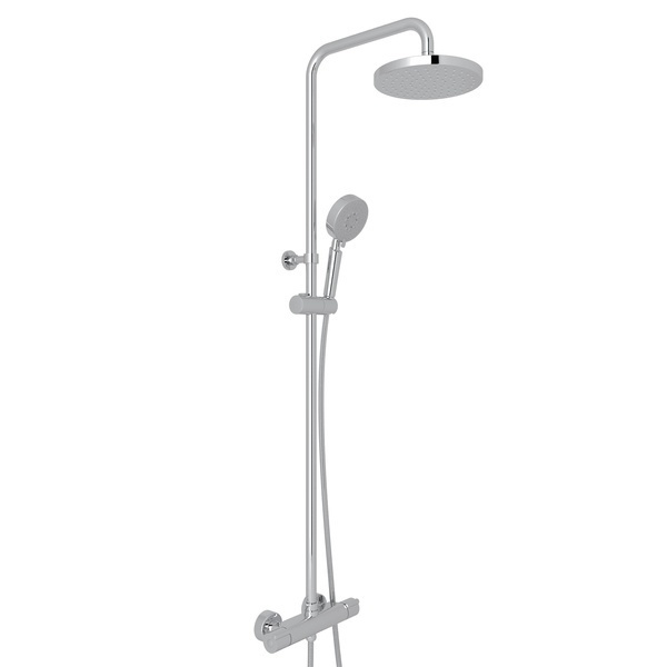 Polished Chrome Mod-Fino Exposed Wall Mount Thermostatic Shower System