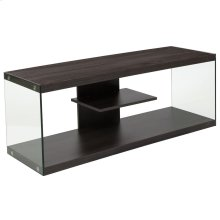 Driftwood Wood Grain Finish TV Stand with Shelves and Glass Frame
