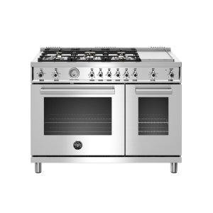 Bertazzoni48 inch All-Gas Range 6 Brass Burner and Griddle Stainless Steel