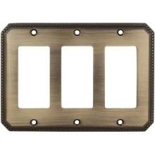 Triple Rocker Beaded Switchplate in (SB Shaded Bronze, Lacquered)