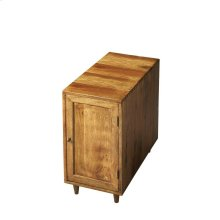 The transparent wet sand finish enables the graining of the exotic Indian mango wood to shine through on this table with inside storage and a deep top for abundant chairside convenience. Plank construction, tapered legs and the simple brass-finished pull