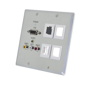 TruLink(R) Double Gang VGA+3.5mm Audio+Composite+Audio over Cat5 Wall Plate Receiver with 4 Keystones - Aluminum