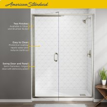 Semi-Frameless Swing Shower Door and Panel - 56-60 Inch  American Standard - Brushed Nickel