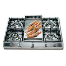 """Stainless Steel with Stainless Steel Trim 36"""" - Professional Gas Cooktop"""