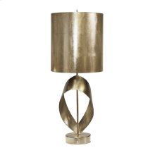 Champagne Silver Leaf Brutalist Ribbon Table Lamp With Silver Metal Shade Ul Approved for One 60 Watt Bulb