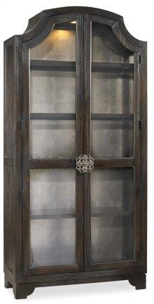 Living Room Sanctuary Glass Bunching Curio-Ebony Antiqued Oak
