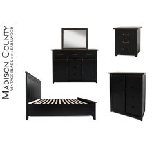 Madison County 5 PC King Panel Bedroom: Bed, Dresser, Mirror, Nightstand, Chest - Vintage Black