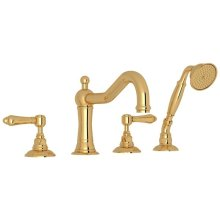 Italian Brass Acqui 4-Hole Deck Mount Column Spout Tub Filler With Handshower with Metal Lever