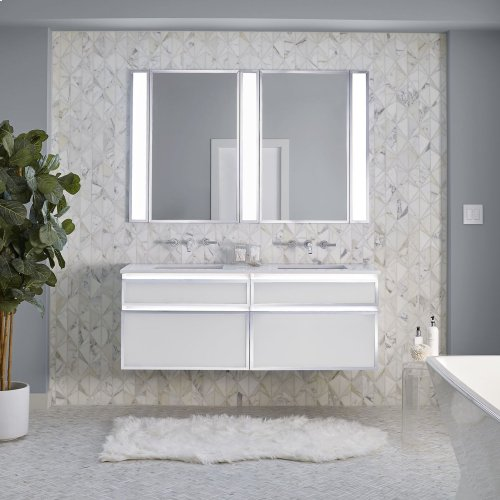 "Profiles 12-1/8"" X 7-1/2"" X 18-3/4"" Framed Slim Drawer Vanity In White With Matte Black Finish and Slow-close Full Drawer"