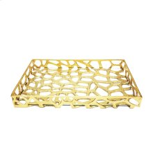 Organic Iron Tray With Glass Bottom In Gold Leaf