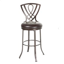 Lincoln Swivel Seat Bar Stool with Brown Crystal Finished Metal Frame and Chocolate Faux Leather Upholstery, 30-Inch Seat Height