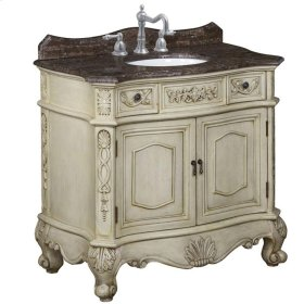 Belle Foret 36 in. Single Basin Vanity with Brown Calico Marble Top with Backsplash in Antique Parchment