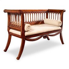 Inspired by an antique, this stunning settee features curved sides and a distinctive slat design on the sides and back panel. Its lightly distressed Antique Cherry Finish with gold highlights gives this sette a formal yet inviting appearance. Crafted from