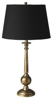 This unique table lamp will brilliantly light any space. Featuring an antique brass finish, it is hand crafted from aluminum with an iron harp and linen shade. Product Image