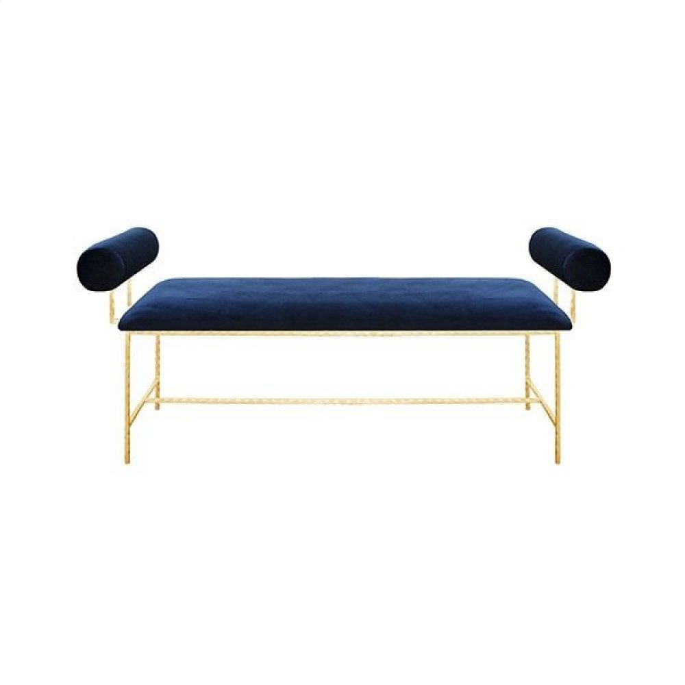 Bolster Arm Gold Leaf Bench In Navy Velvet - Seat Height 17""