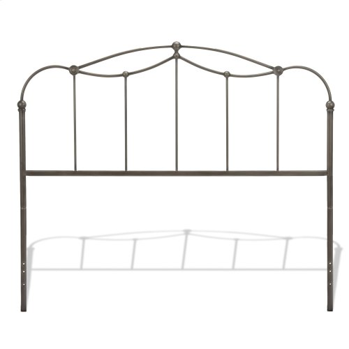 Affinity Metal Headboard and Footboard Bed Panels with Spindles and Detailed Castings, Blackened Taupe Finish, California King