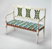 Add this stunning bench as a focal point in the living room, bedroom, hallway or entryway. Featuring a vibrant, whimsical hand painted striped floral motif with a hand carved back panel and clean lines, it is hand crafted from poplar hardwood solids and w Product Image