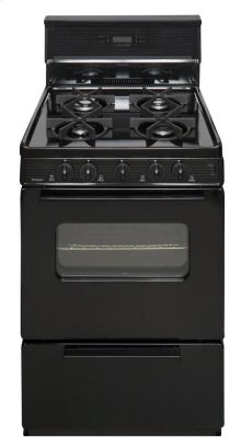 24 in. Freestanding Sealed Burner Spark Ignition Gas Range in Black