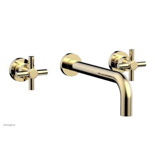 "Basic Wall Tub Set 10"" Spout - Tubular Cross Handles D1134-10 - Polished Brass Uncoated"