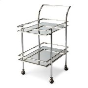 Shaken or stirred, this dynamic retro bar cart is certain to be at the center of attention in any space. Forged from a solid steel frame, it features a dazzling nickel finish with clear mirrored glass shelves. Four large casters ensure easy mobility from Product Image