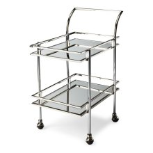 Shaken or stirred, this dynamic retro bar cart is certain to be at the center of attention in any space. Forged from a solid steel frame, it features a dazzling nickel finish with clear mirrored glass shelves. Four large casters ensure easy mobility from