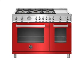 48 inch All-Gas Range 6 Brass Burner and Griddle Red