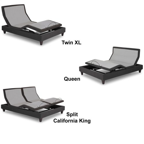 P-232 Furniture Style Adjustable Bed Base with Upholstered Frame and LPConnect, Black Finish, Full XL