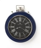 This wall clock is crafted in a round blue frame that features Roman & traditional numerals over a white face, and a sturdy handle. The clock can be placed on any wall and blends with a variety of decor. Makes a great gift. Product Image