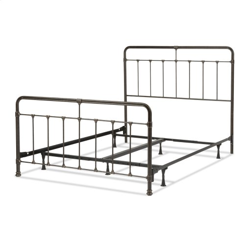 Fairfield Complete Metal Bed and Steel Support Frame with Spindles and Intricate Castings, Dark Roast Finish, California King