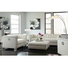 Chaviano Contemporary White Ottoman