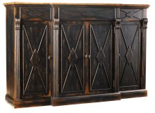 Dining Room Sanctuary 4-Door 3-Drawer Credenza - Ebony & Drift