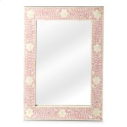This wall mirror is the prettiest of them all. The delicate floral inlay around all four sides adds blushing beauty with white bone mosaic against a pink background. Product Image