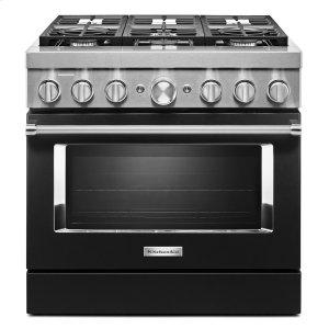 KitchenaidKitchenAid® 36'' Smart Commercial-Style Dual Fuel Range with 6 Burners Imperial Black