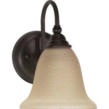 """1-Light 7"""" Wall Mounted Vanity Light Fixture in Old Bronze Finish with Amber Water Glass"""