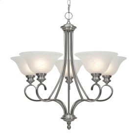 Lancaster 5 Light Chandelier in Pewter with Marbled Glass