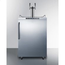 Freestanding Commercially Listed Dual Tap Outdoor Beer Dispenser, Auto Defrost With Digital Thermostat, Stainless Steel Wrapped Exterior, and Towel Bar Handle