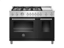 48 inch All Gas Range, 6 Burner and Griddle Matt Black