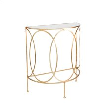 Gold Leaf Console With Oval Details and Antique Mirror Top.