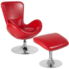 Red Leather Side Reception Chair with Ottoman