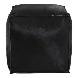 Luca Leather Pouf Black