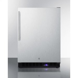 SummitFrost-free Outdoor All-freezer With Icemaker, Digital Thermostat, LED Light, Black Cabinet, Lock, Stainless Steel Door and Thin Handle