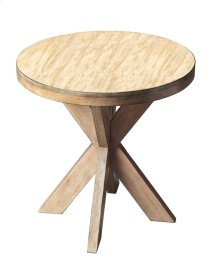This contemporary accent table is uniquely appointed with a solid hardwood four-legged double X Hand crafted from select hardwood solids and wood products, it features birch veneers on the top and along the apron with an distressed, casual Driftwood fini