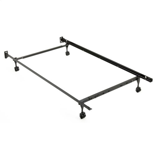 """Restmore Adjustable PL45R Posi-lock Bed Frame with Fixed Headboard Brackets and (4) 2"""" Locking Rug Roller Legs, Powder Coat Finish, Twin - Full"""