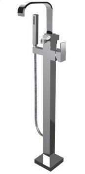 Floor Mount Tub Filler With Hand Shower in Polished Chrome
