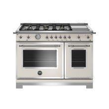 48 inch All-Gas Range 6 Brass Burner and Griddle Ivory