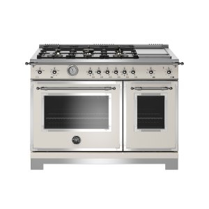 Bertazzoni48 inch All-Gas Range 6 Brass Burner and Griddle Ivory