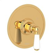 English Gold Perrin & Rowe Edwardian Pressure Balance Trim Without Diverter with Metal Lever