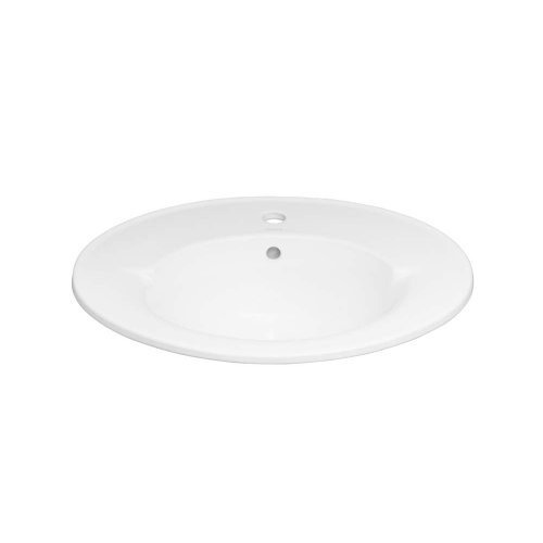 """Leonie Oval 24"""" Ceramic Drop-in Bathroom Sink with Single Faucet Hole in White"""